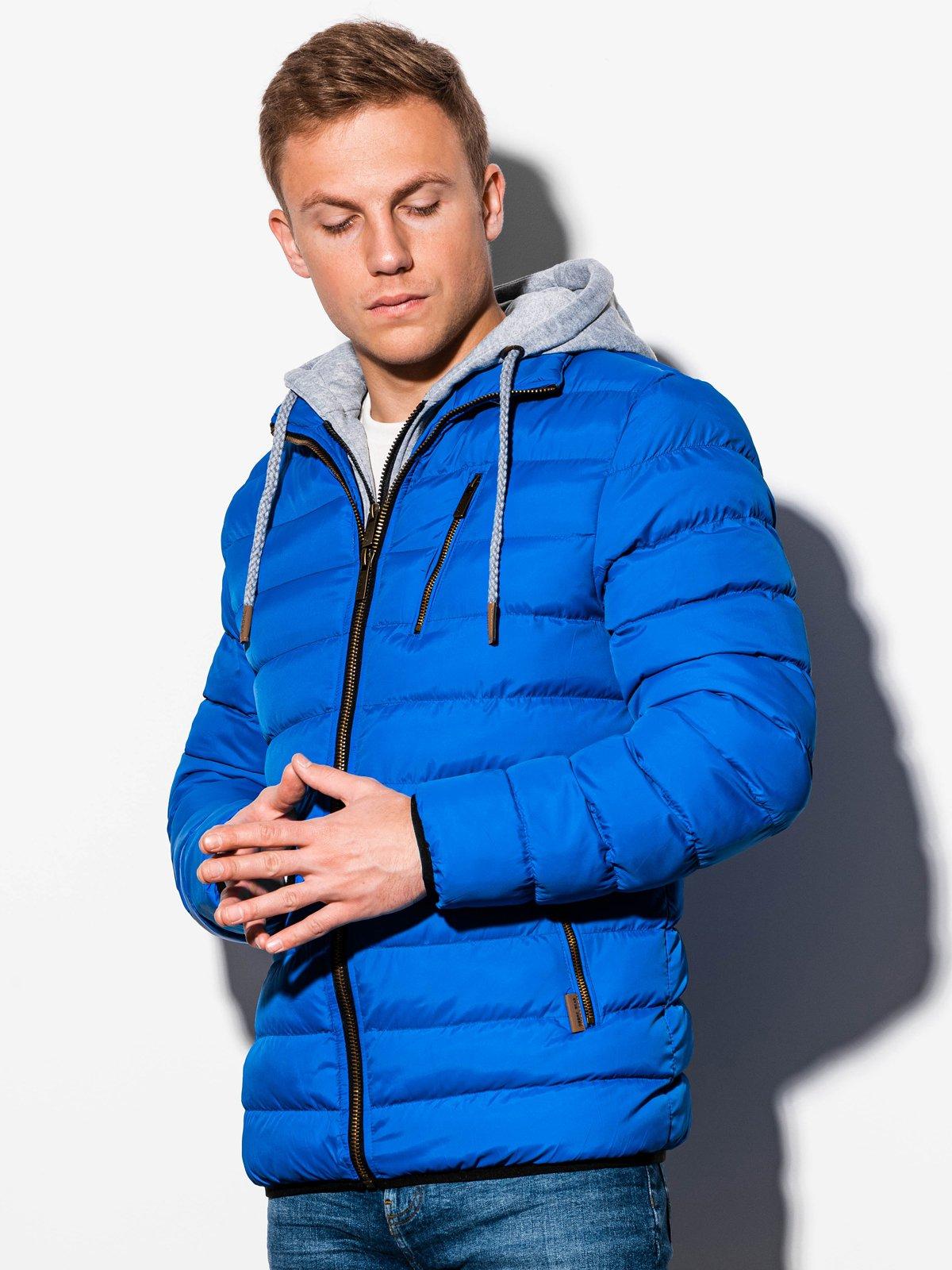 Férfi téli steppelt dzseki c384 kék
