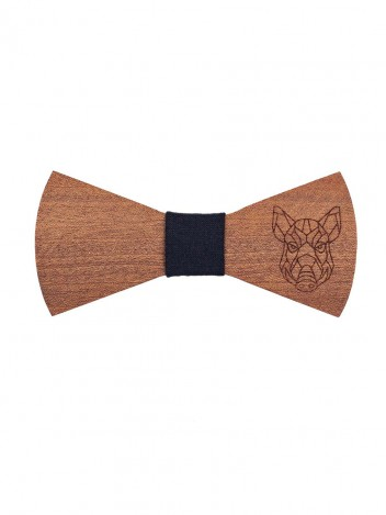 Mens Wooden Bow Tie Pig Brown