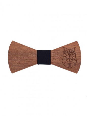 Mens Wooden Bow Tie Owl Brown